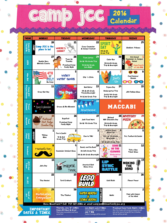 camp 2016 calendar