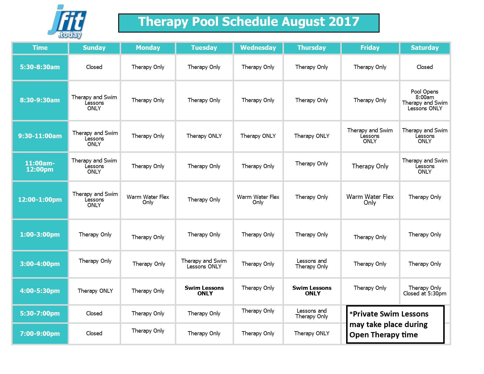 August 2017 Therapy and Lap Pool Schedule 2