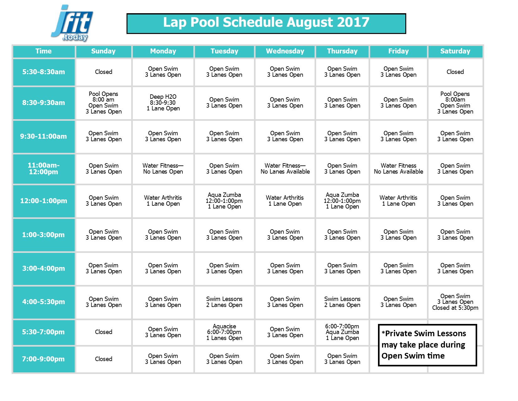 August 2017 Therapy and Lap Pool Schedule