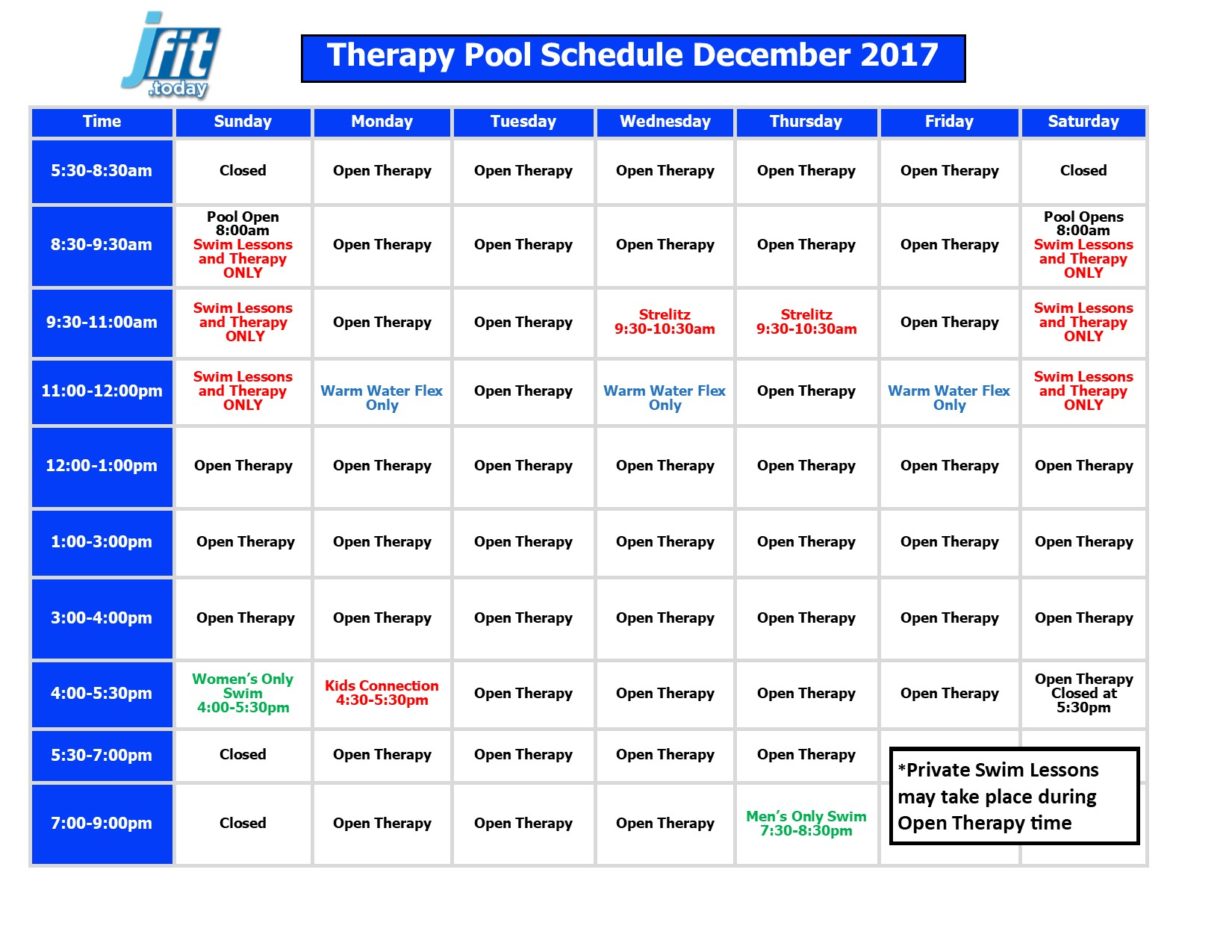 December Therapy Pool Schedule