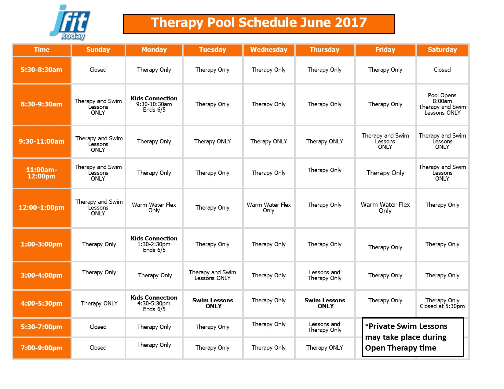 May 2017 Therapy and Lap Pool Schedule 2