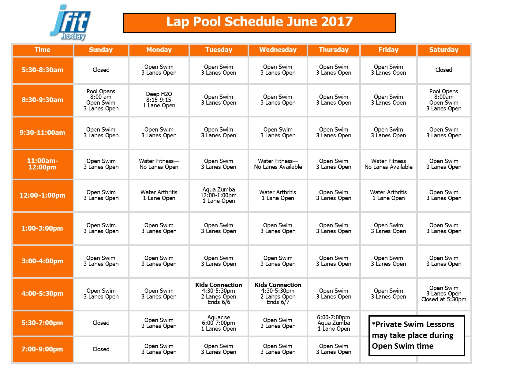 May 2017 Therapy and Lap Pool Schedule