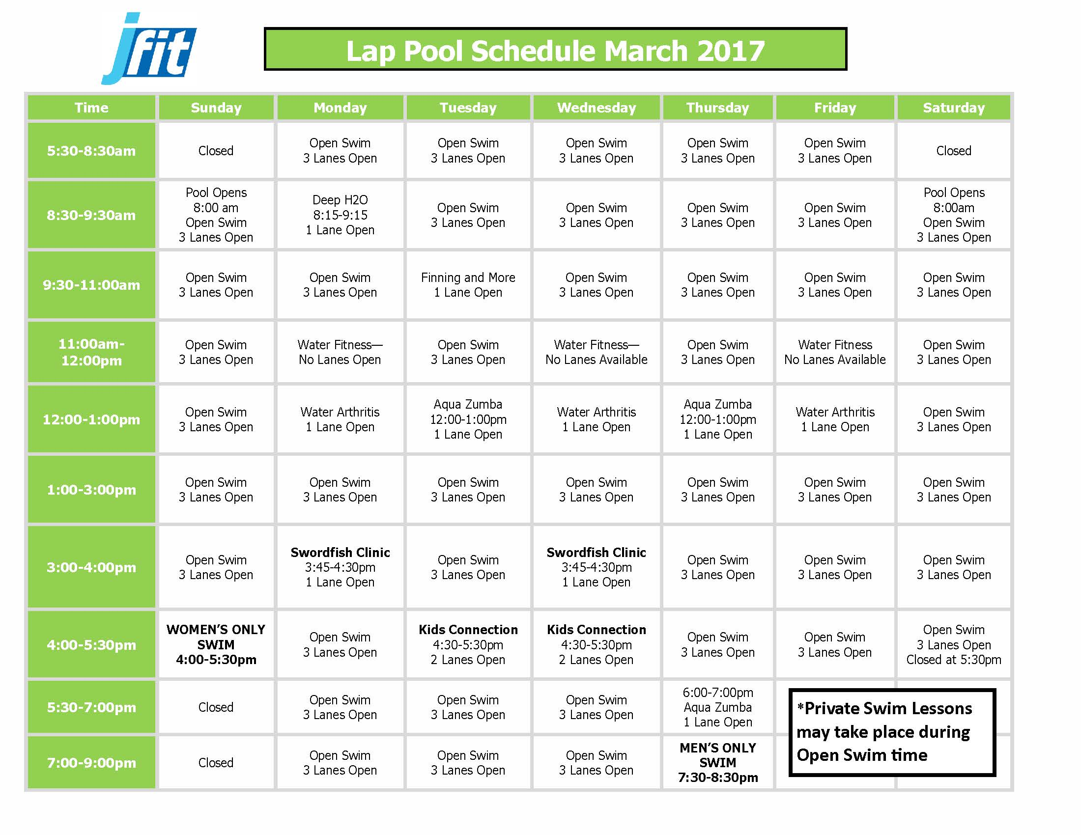 March 2017 Therapy and Lap Pool Schedule_Page_1