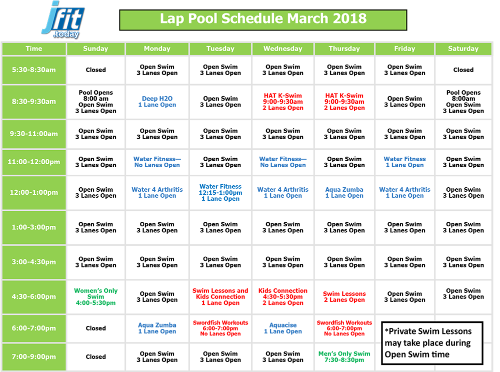 March 2018 Lap Pool Schedule