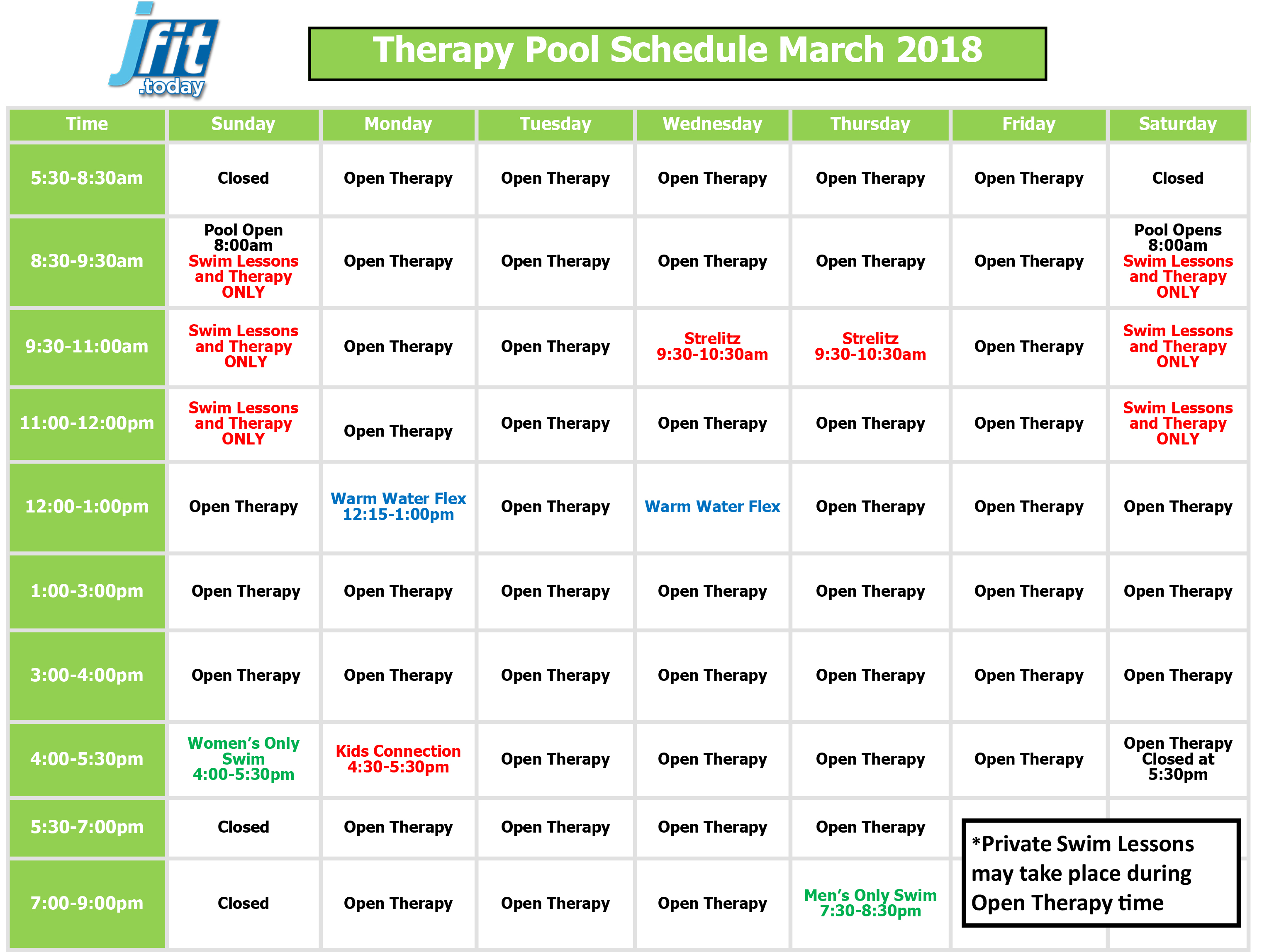 March 2018 Therapy Pool Schedule