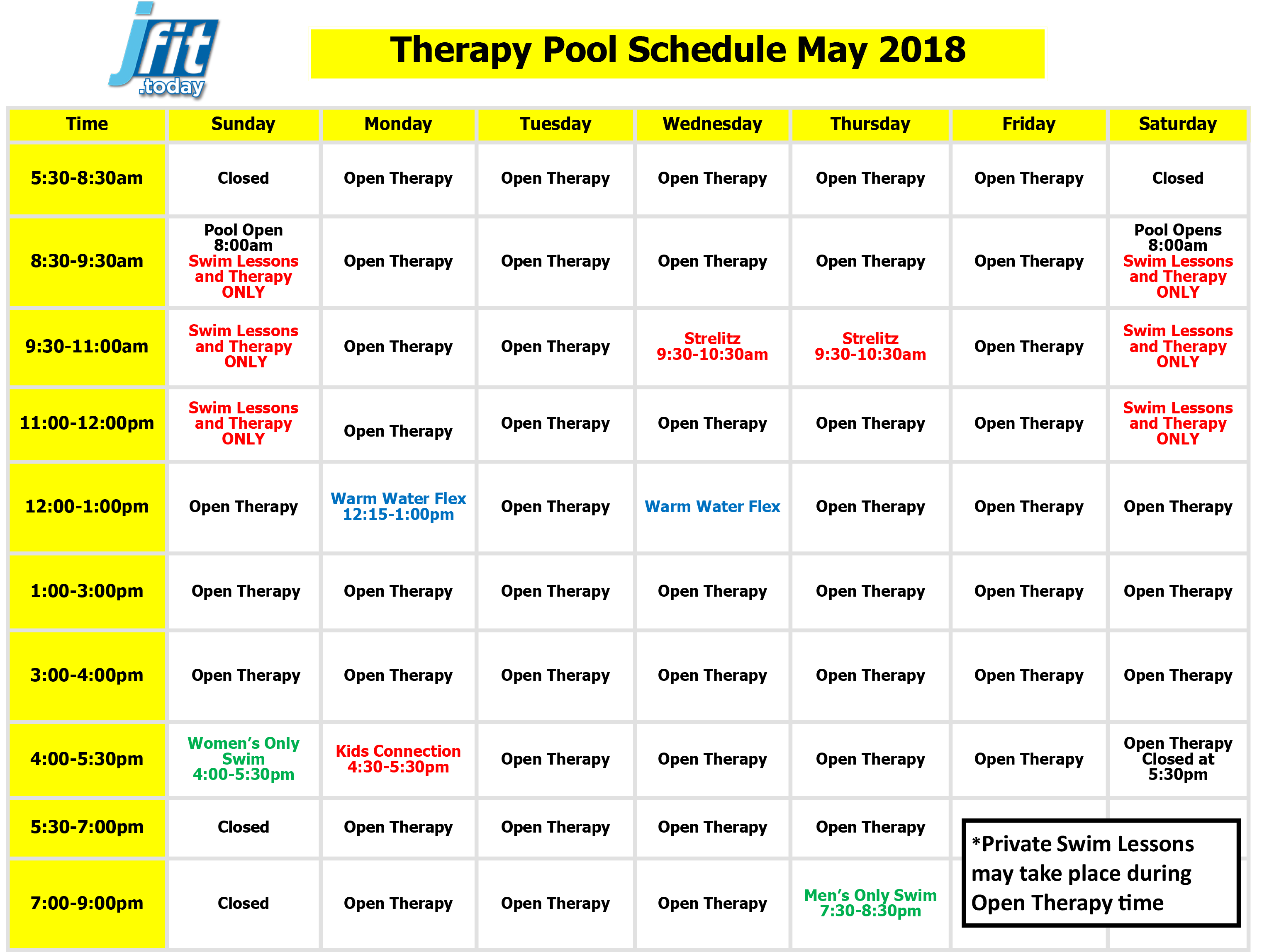 April 2018 Therapy Pool Schedule