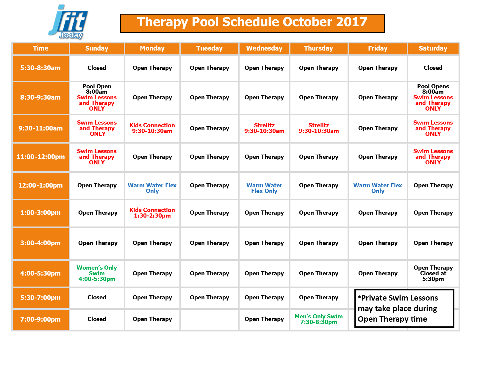 October 2017 Therapy and Lap Pool Schedule 2