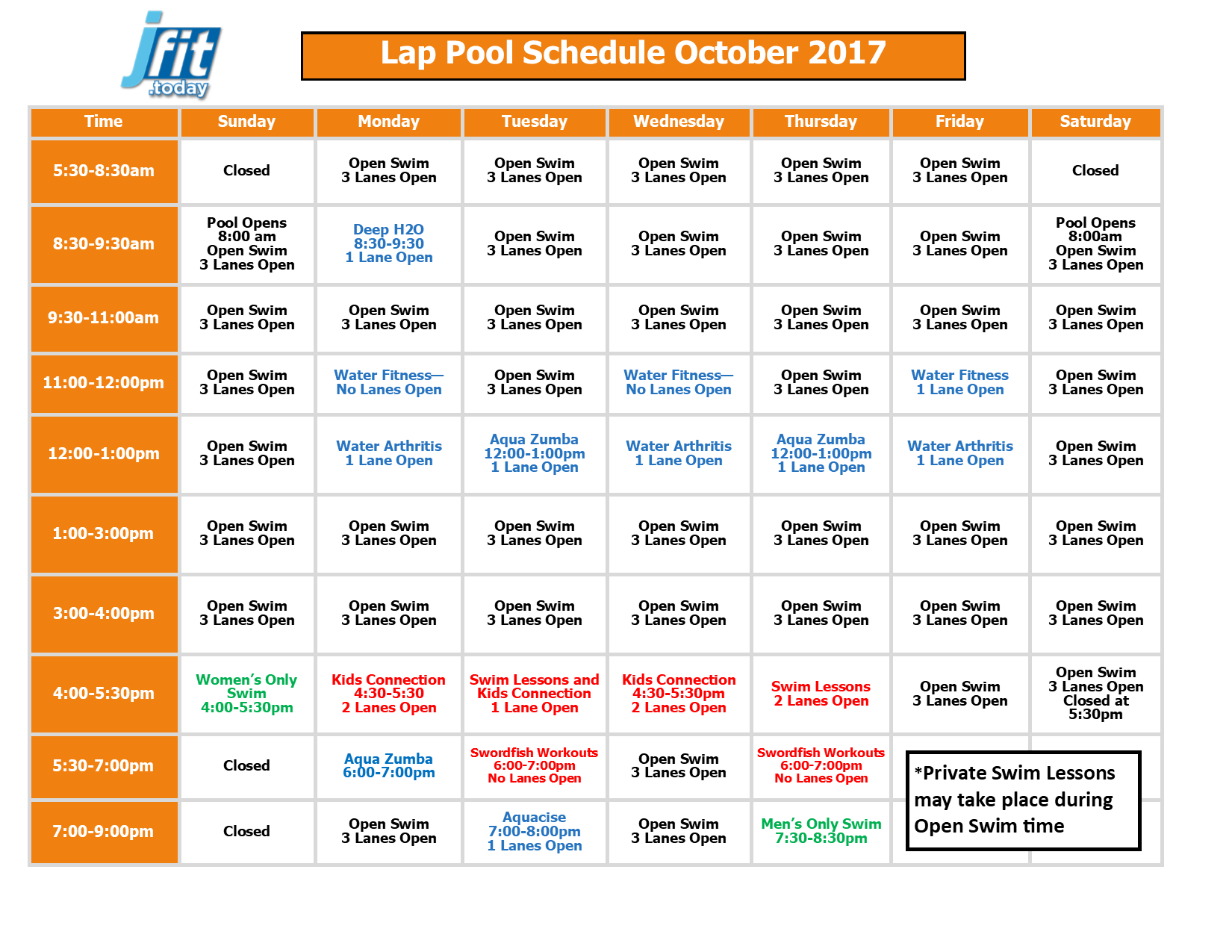 October 2017 Therapy and Lap Pool Schedule