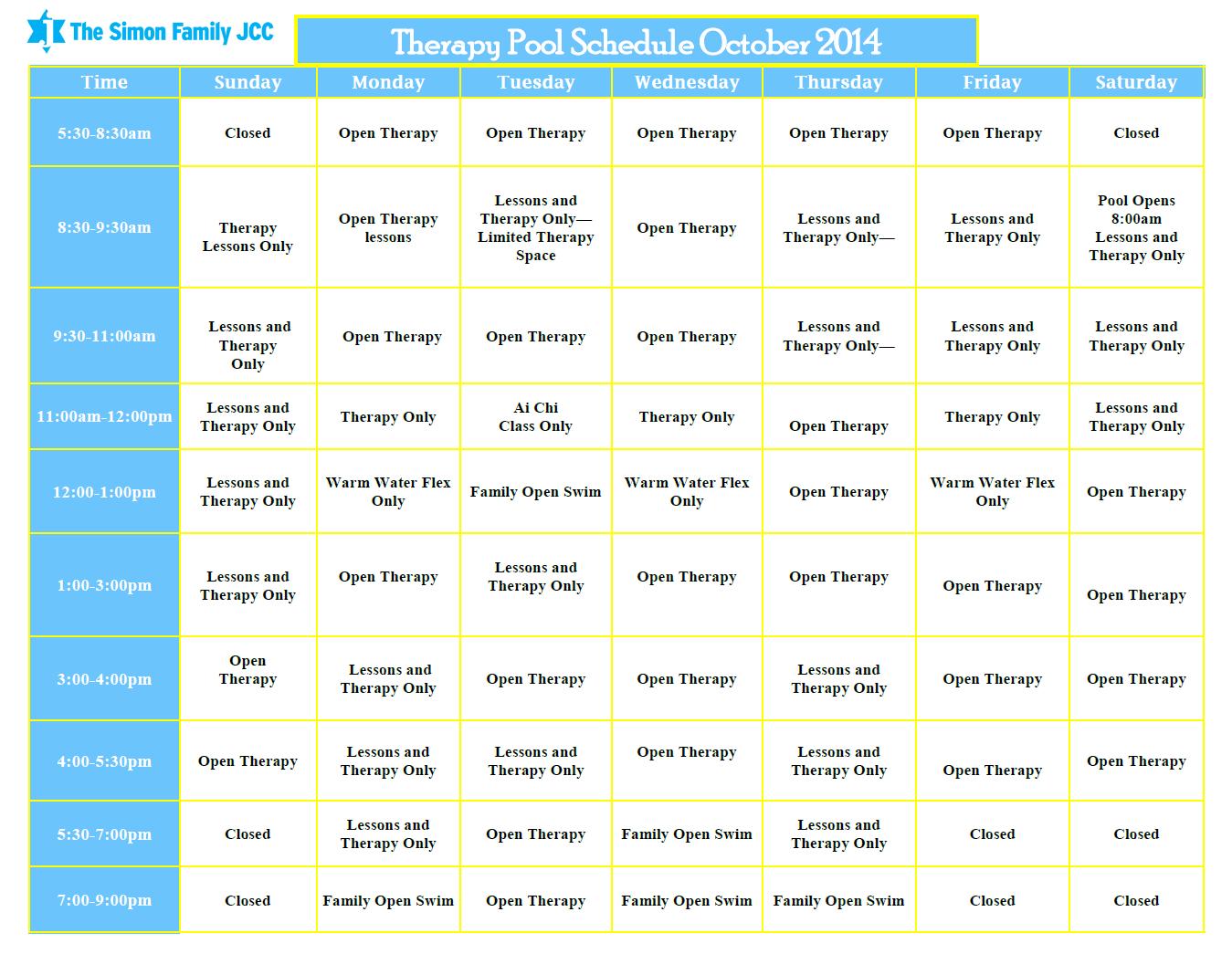 Aquatics Schedule | Simon Family JCC | Closer than you ...
