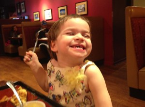 The author's daughter shows how she feels about ice cream.