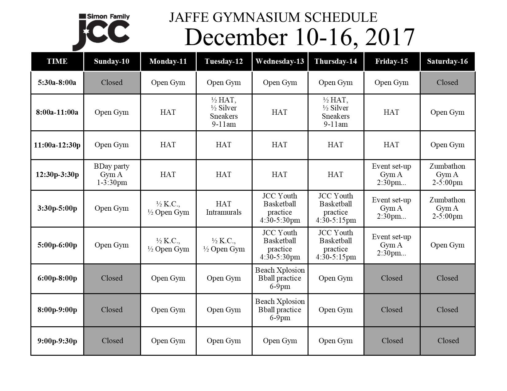 December 10-16 2017 Jaffe Gym Schedule