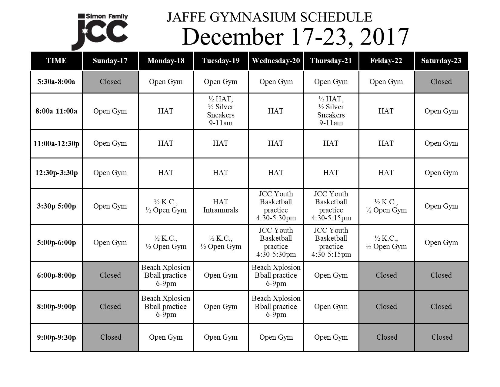 December 17-23 2017 Jaffe Gym Schedule