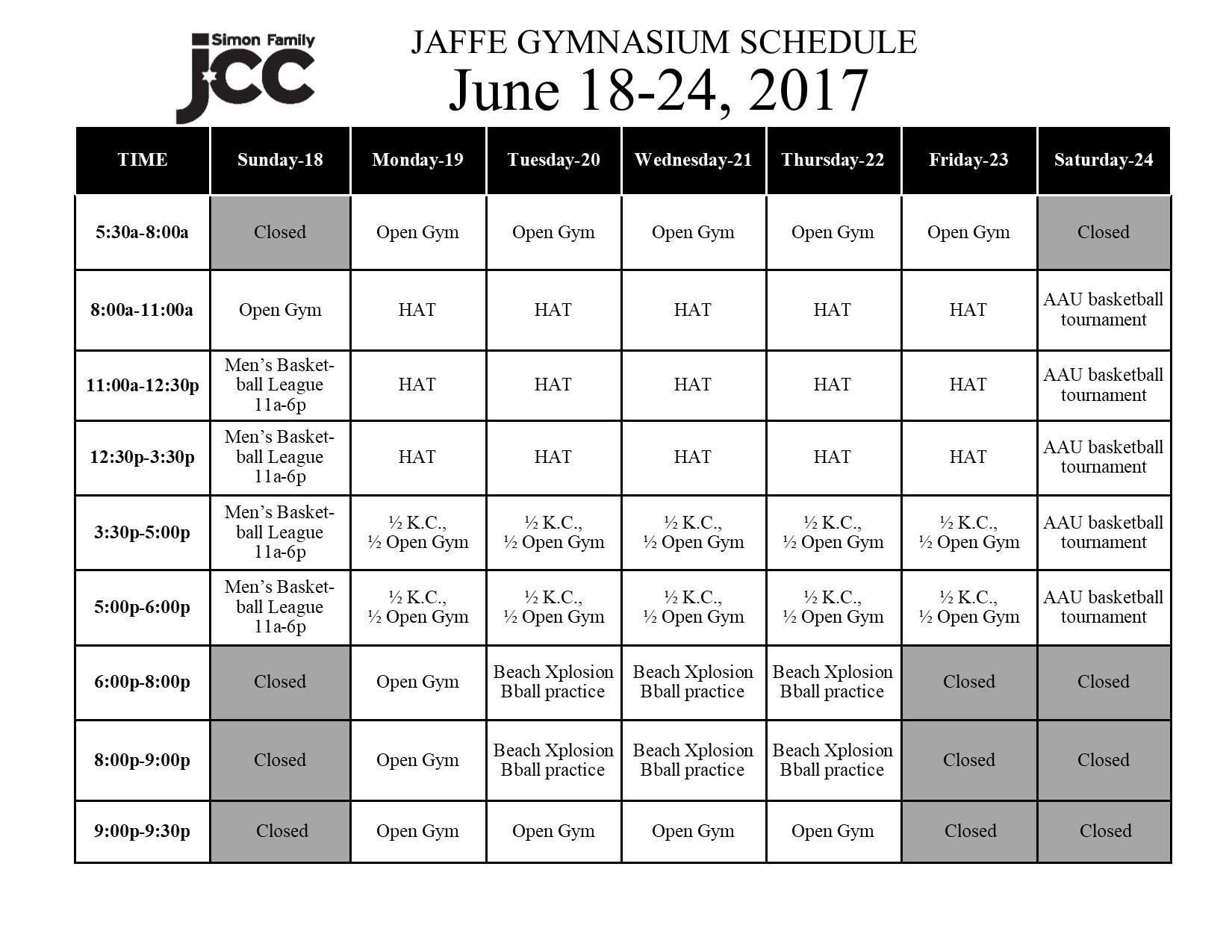March 5-11 2017 Jaffe Gym Schedule