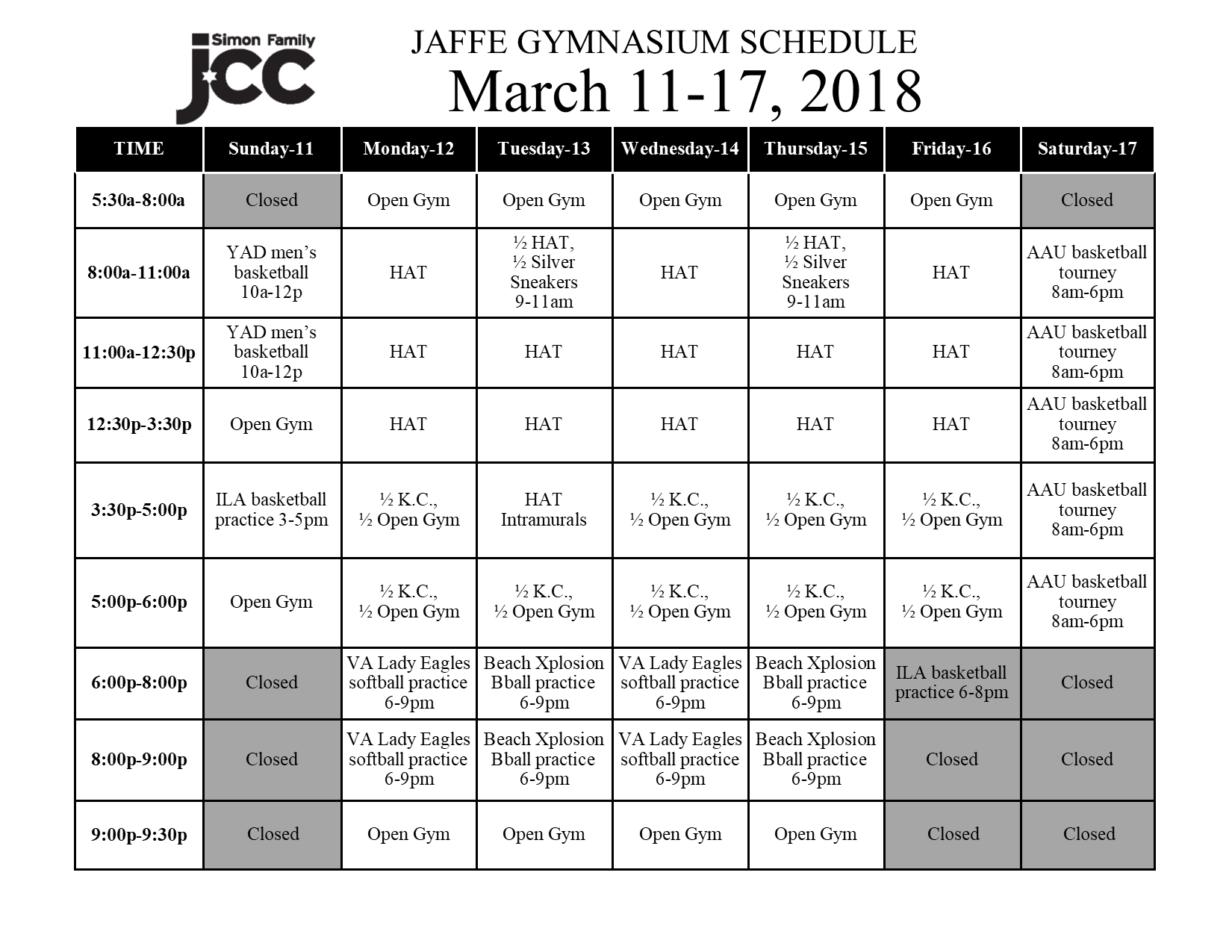 March 11-17 2018 Jaffe Gym Schedule