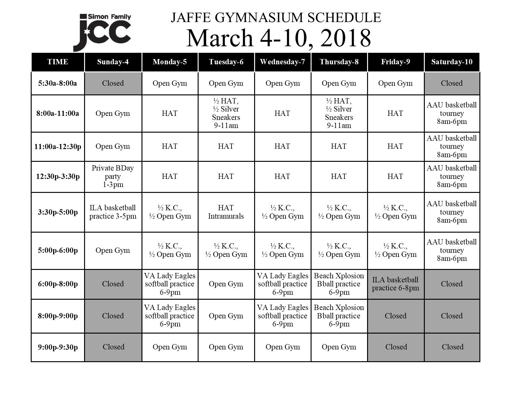 March 4-10 2018 Jaffe Gym Schedule