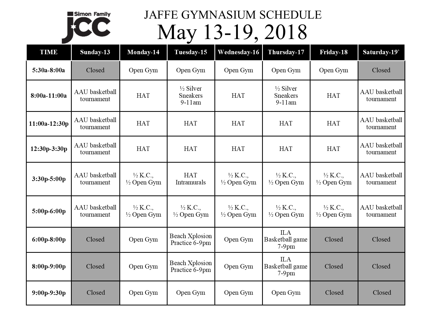 May 13-19 2018 Jaffe Gym Schedule