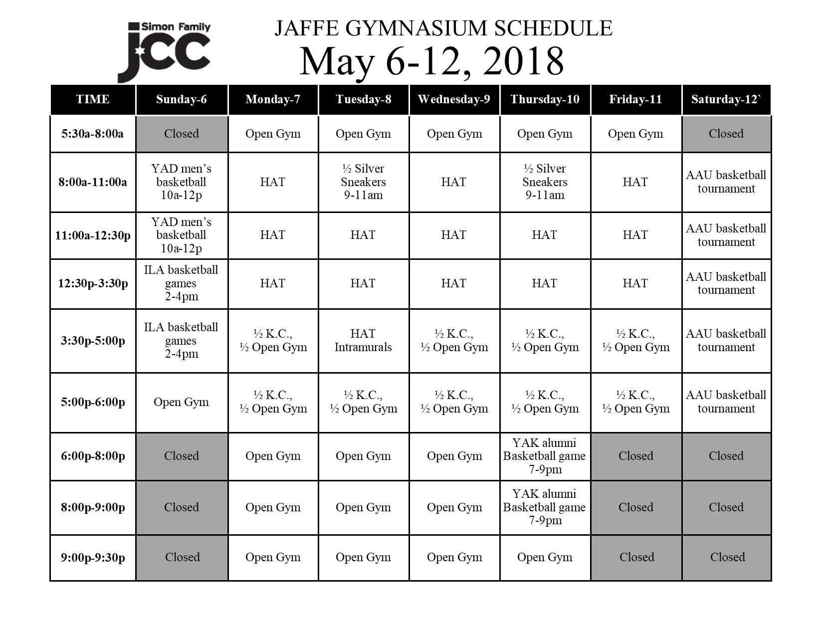 May 6-12 2018 Jaffe Gym Schedule