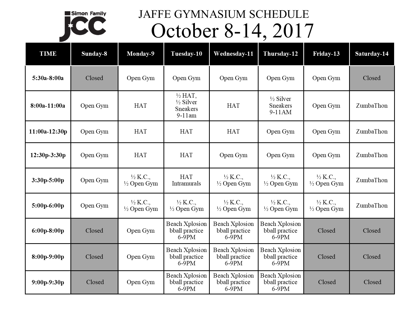 October 8-14 2017 Jaffe Gym Schedule
