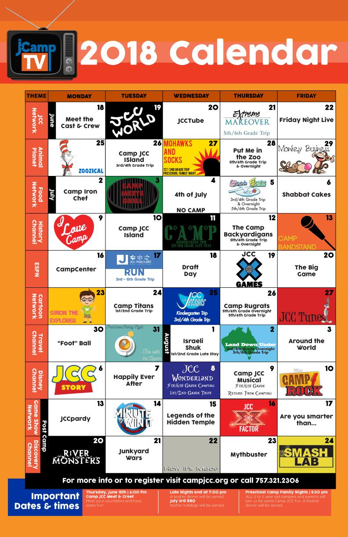2018 Camp JCC Calendar